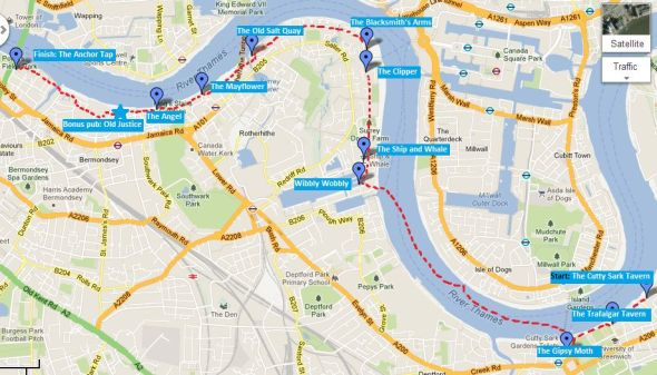 Thames pub crawl map