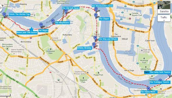 Thames pub crawl map