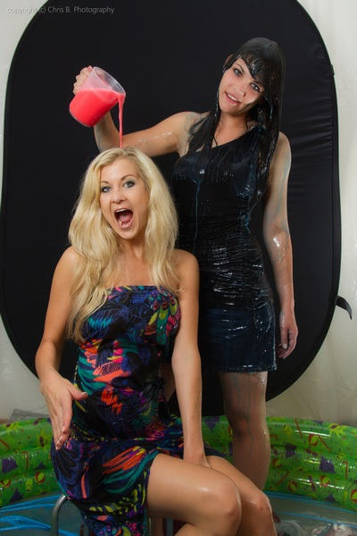 Two girls with slime