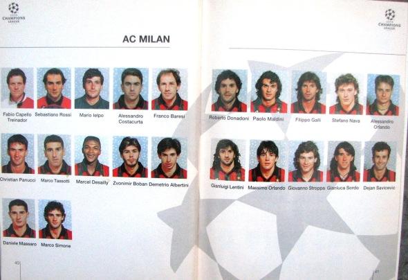 Milan individual squad photos 1995